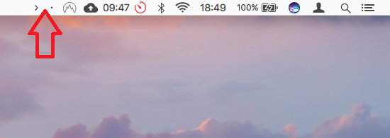 The Vanilla app adds two icons to the menu bar