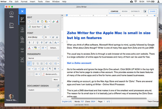 Zoho Writer for the Apple Mac is small in size but big on