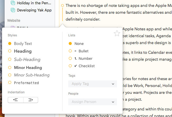 Agenda notes app for the Apple Mac formatting options
