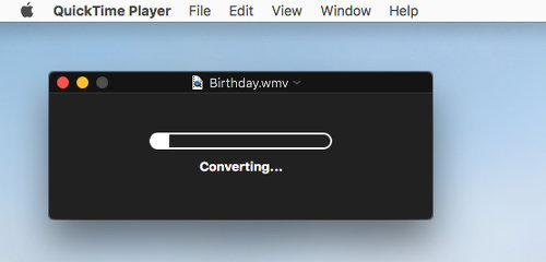 QuickTime Player on the Apple Mac converting a video file