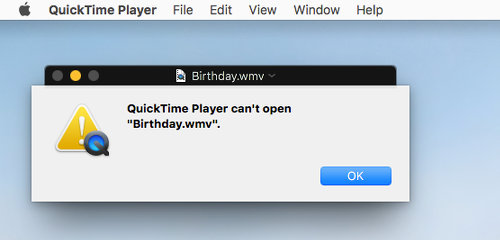 QuickTime on the Apple Mac cannot play some video file formats