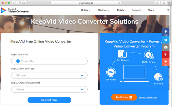 KeepVid website converts video file formats
