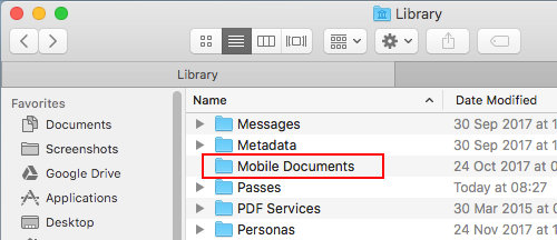 Apple iCloud files are stored in the Mobile Documents folder