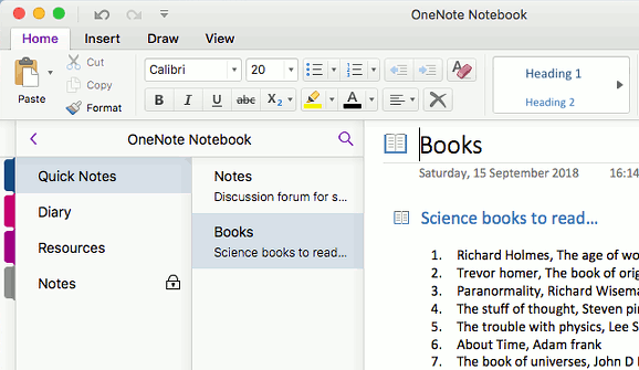 Step up from Notes to OneNote on the Apple Mac for more