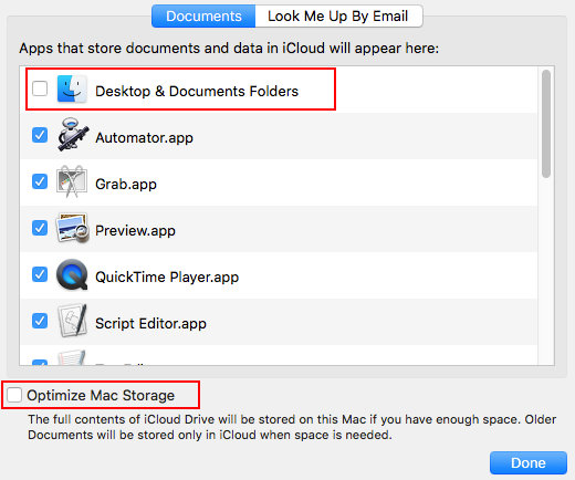 Optimise storage on the Apple Mac using iCloud Drive