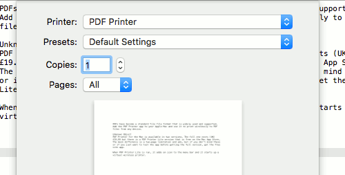 Add a virtual PDF printer to your Mac and print from any