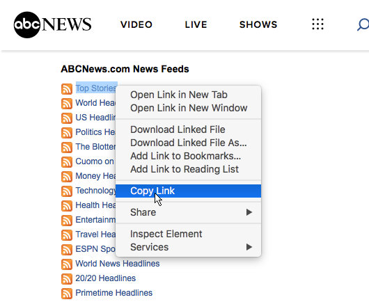 RSS feeds at the ABCNews website