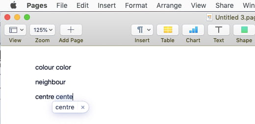 mac pages spell check in french
