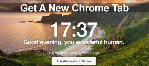 Momentum Chrome extension beautifies the new tab page and also adds some useful new features, such as a to-do list manager.