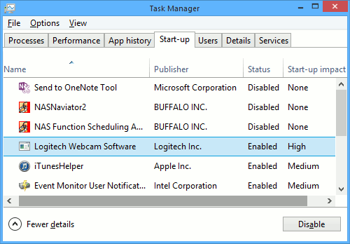 Windows startup items