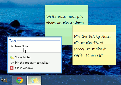 Where is Sticky Notes in Windows 8?