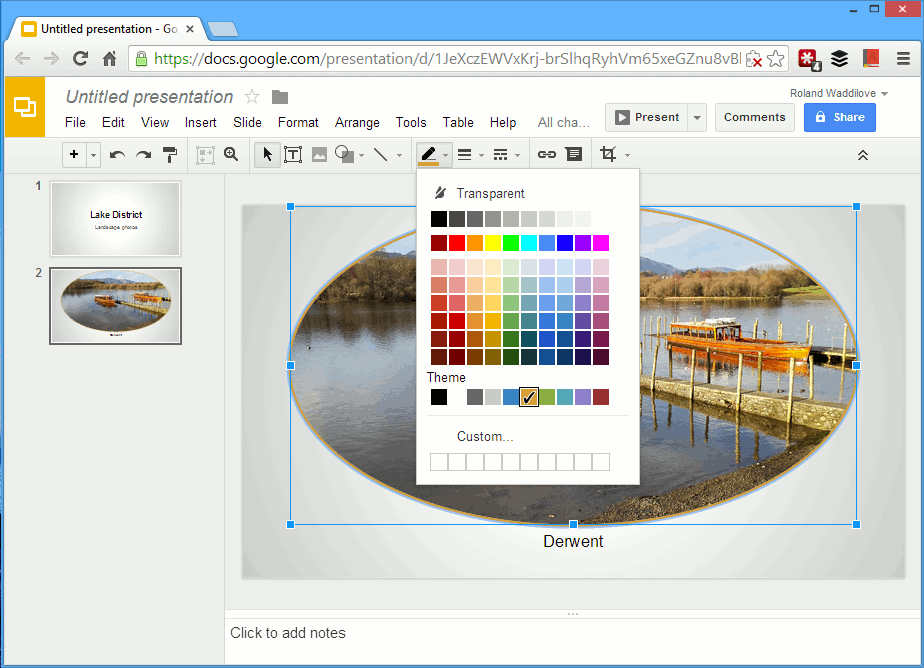 edit images directly on the slide in google drive presentations
