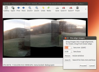 Fotoxx panoramas in Linux