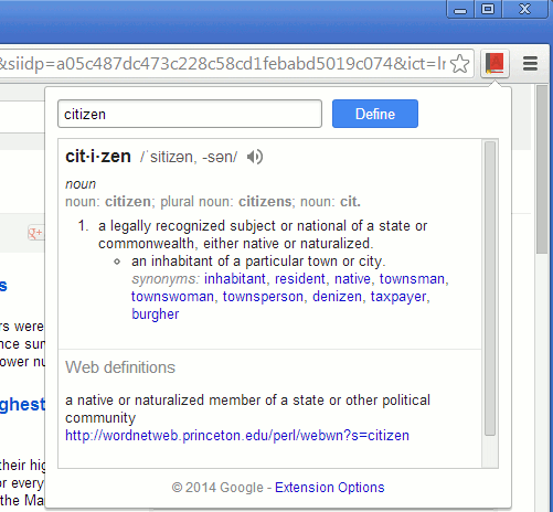 Google Dictionary for Chrome