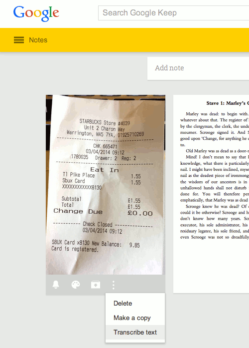 Recognise text in photos and other images using Google Keep