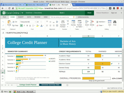 Create spreadsheets with the Excel web app