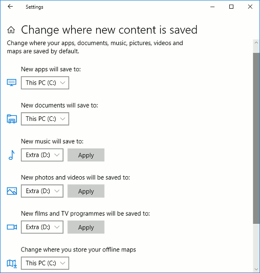 Change the default save location in Windows 10 and 8