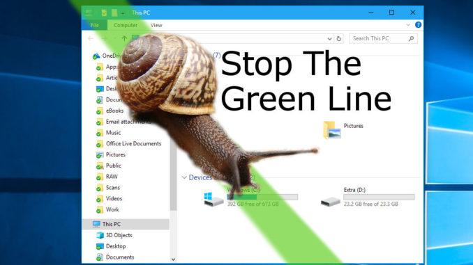 Stop the annoying green bar in Explorer windows