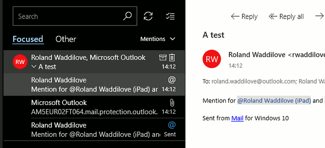 All the different views in the Windows 10 Mail app