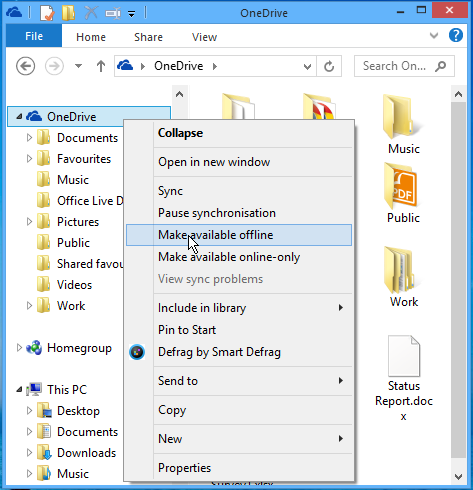 Store copies of your OneDrive files on the disk drive