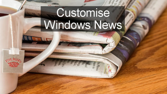 Add topics, sources, feeds to the Windows 10 News app