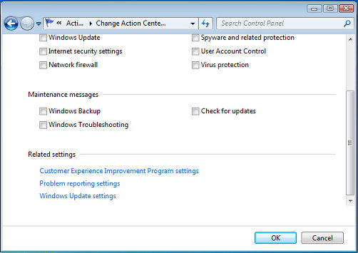 Windows Action Center settings