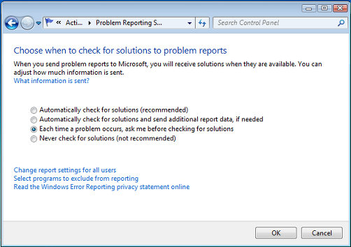 Action Center problem reporting options