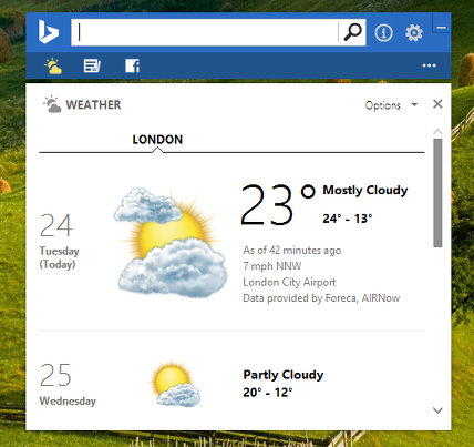 Get a weather report on the ddesktop