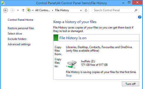 File History in the Control Panel