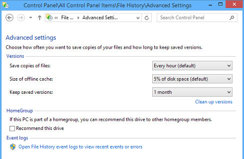 Advanced settings in File History