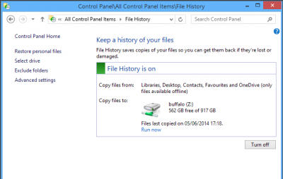 Run Windows File History