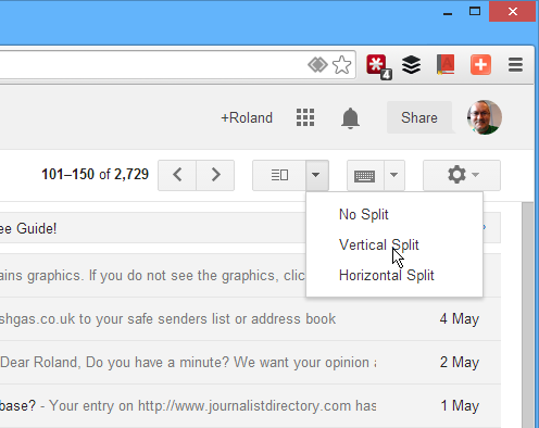 Choose the Gmail view