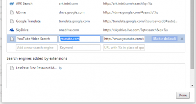 View the search engines in Chrome