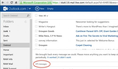 Recover deleted mail on Outlook.com