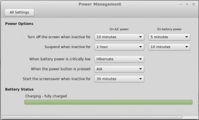 Linux opower settings