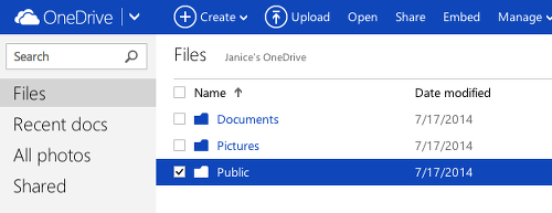 Share files on OneDrive