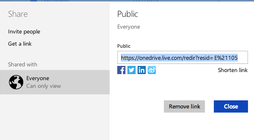 Stop sharing a file on OneDrive