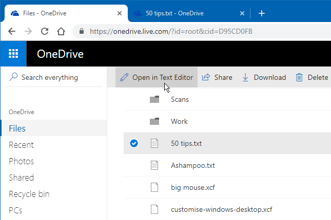 Edit text files and code on OneDrive in your web browser