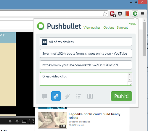Exchange files and text with Pushbullet