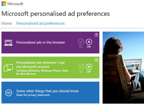 Ad choices for Microsoft