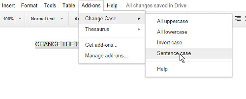 Change uppercase to lowercase in Google Docs