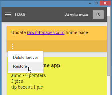 Recover deleted notes in Google Keep
