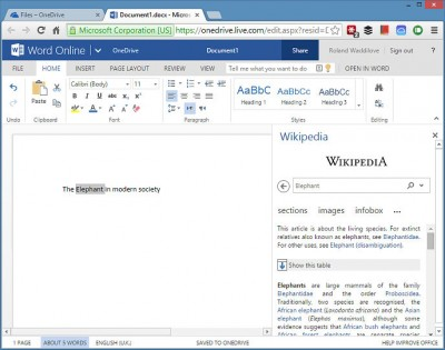 Research using Wikipedia in Word