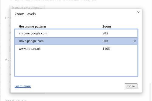 Zoom history in Chrome