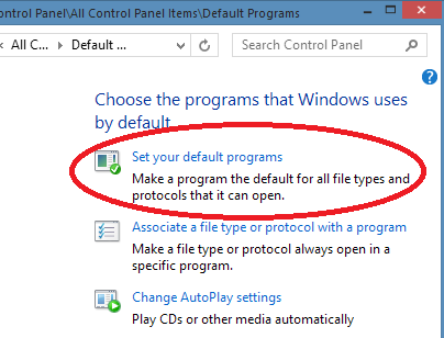 Windows program defaults
