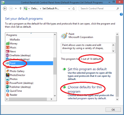 Set Windows default programs