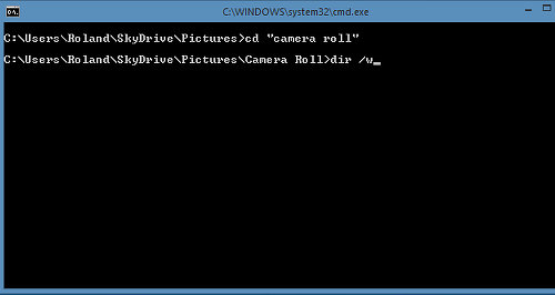 Using the command prompt window