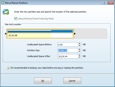 Shrink a disk partition