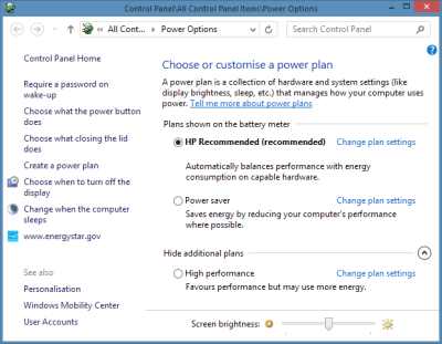 Windows Power Options in the Control Panel