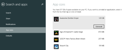 Show the size of apps in Windows 8